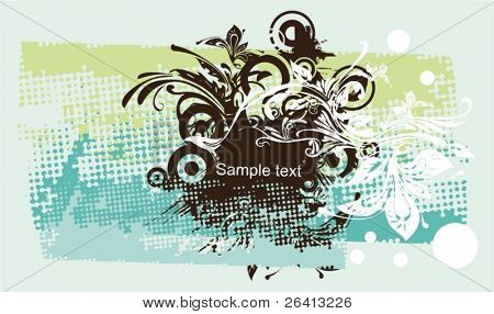 abstract floral Medalion auf erodierten Halbton Muster Hintergrund