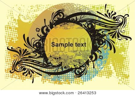retro floral medalion on grunge background,vector