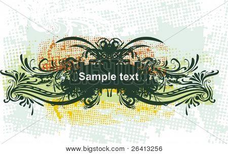 banner floral & marco erosionadas grunge, vector