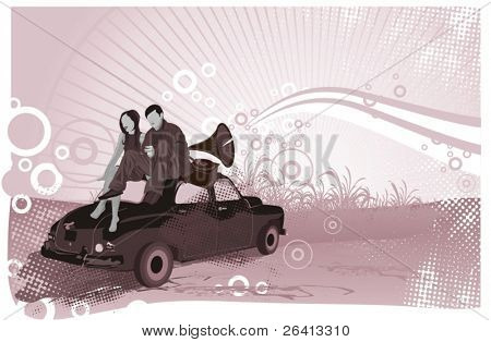 couple sitting on the car and listen music from an old gramophone in the sunrise,vector vintage illustration