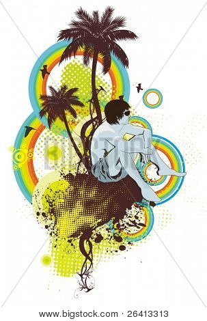 relaxing on the beach,palm trees ,grunge & floral ornaments,vector illustration