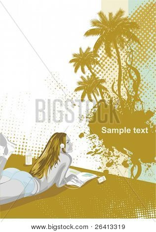 beauty girl on the beach listening to music,palm trees,vector illustration