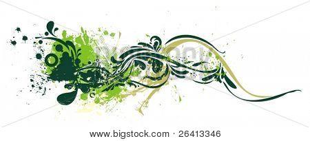 diseño de Grunge & adornos florales, vector