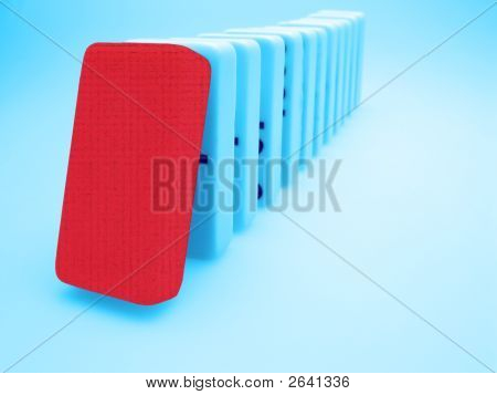 Red Domino, Dominos Concept On Light Background, Team