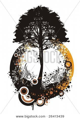 tree silhouette on abstract floral circLe vector illustration