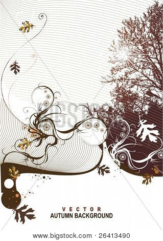 autumn background,floral,vector illustration