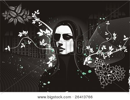 girl with headphones,buildings,grunge & floral ornaments