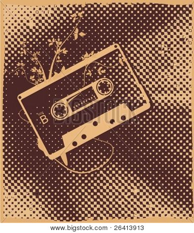 audio tape on retro dotted background