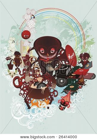 vinyl soup mystic, creatures cooking a soup from old vinyls,abstract vector illustration