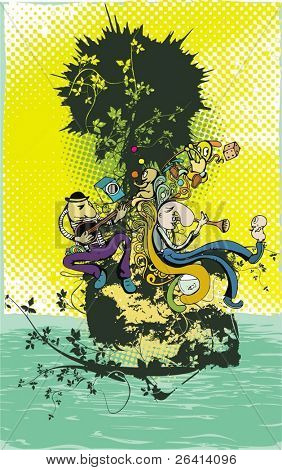 Illustration of a cartoon musicians playing music on the island