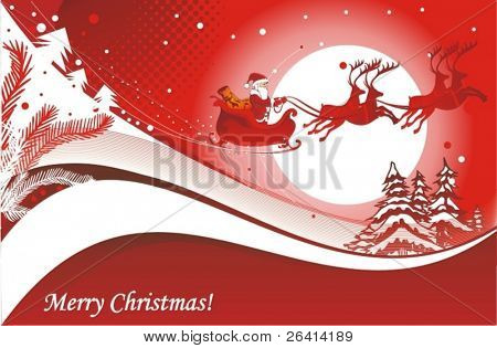 Santa's Sleigh christmas illustration
