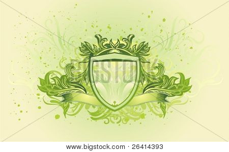 vector illustration of shield and banner with decorative floral elements on grunge background