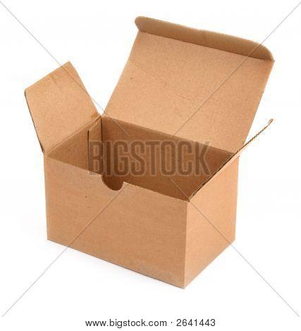 Open Cardboard Box Against White