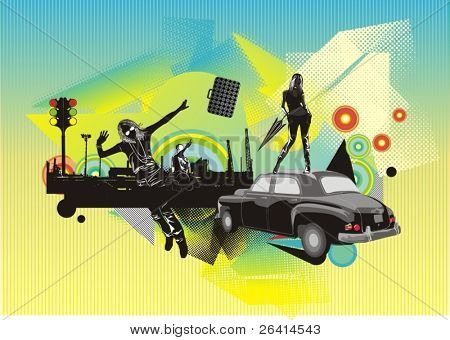 illustration with beauty silhouettes vintage car,and abstract vector ornaments