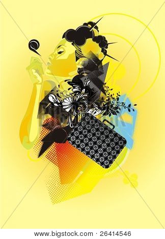 beautiful woman and abstract vector shapes,fashion illustration
