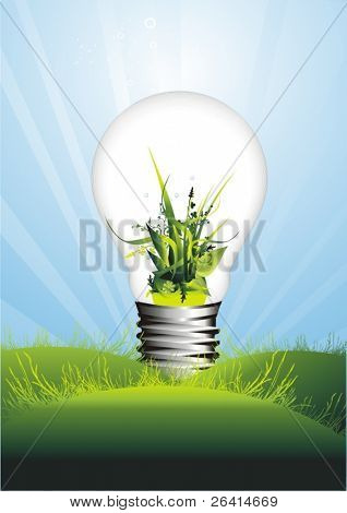 glowing light bulb in a spring meadow