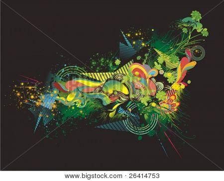 Ilustración floral abstracta y coloridos adornos sobre fondo negro