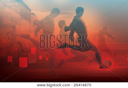 soccer player's in action -illustration