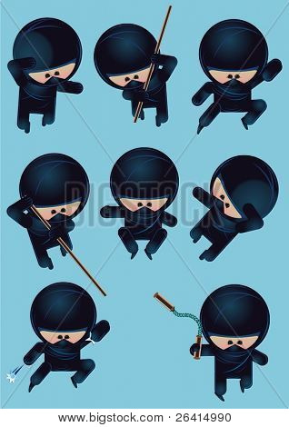 eight funny cartoon ninja characters, vector illustration