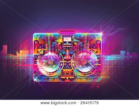 Boombox illustration,glowing shinny abstract in the urban night.