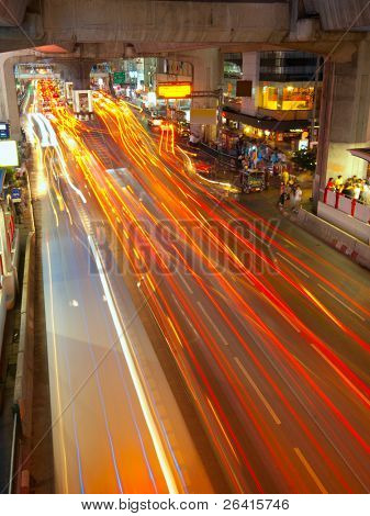 Light trails on a center street in Bangkok
