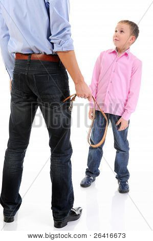 Strict father punishes his son