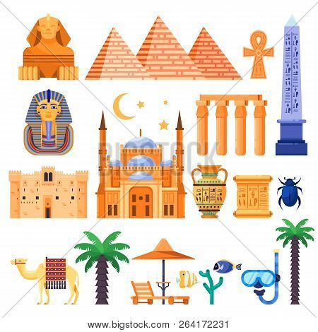 Travel To Egypt Vector Icons