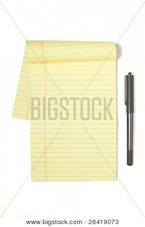 A Legal Pad Isolated on White with Pen