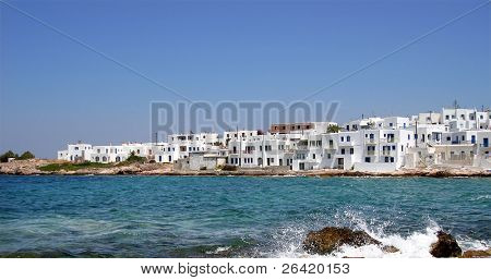 Paros from the water. Greek Islands, Greece
