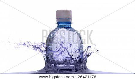 plastic bottle in water