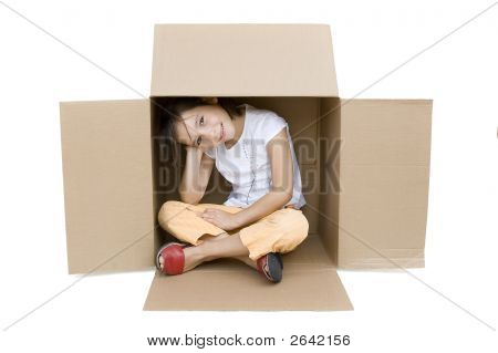 Young Girl Inside A Box