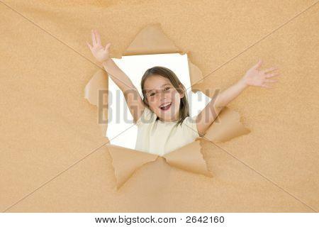 Young Girl Braking Through