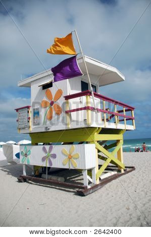 South Beach Lifeguard Tower With Flowers