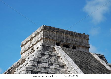 Closeup Of Top Of Mayan Pyramid