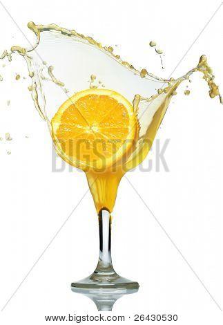 orange fall in juice glass