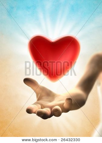 Red heart floating over a woman open hand. Digital illustration.