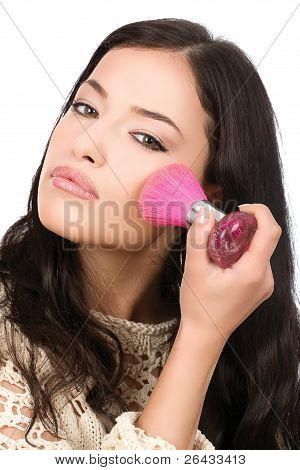 Young Pretty Girl Makeup With Powder Brush