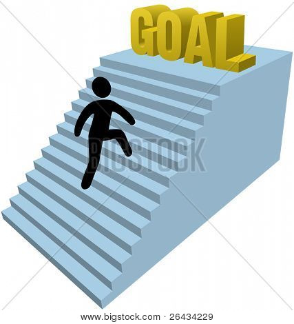 Person climbs stair steps to achieve success goal