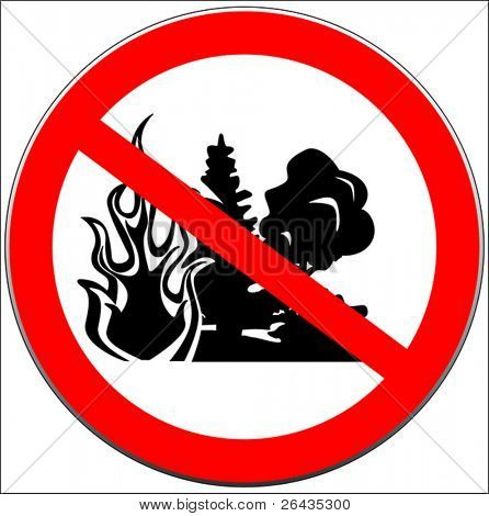 Vector of caution sign with forest fire