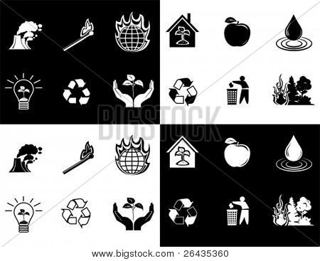 vector of black and white icon set of global warming