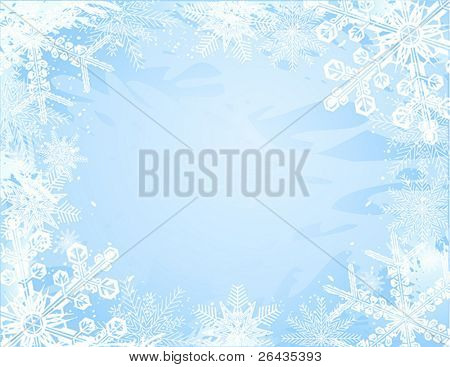 vector of beautiful snowflakes frame