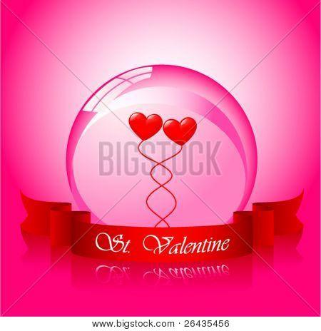 Vector of valentine's hearts in sphere