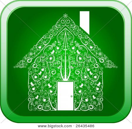 vector of greenhouse on a button