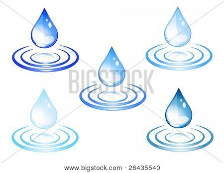 Vector of water colored drops