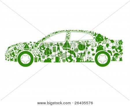 Vector illustration of car shape, made from different ecological items.