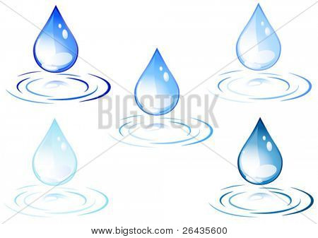 Vector of colored water drops