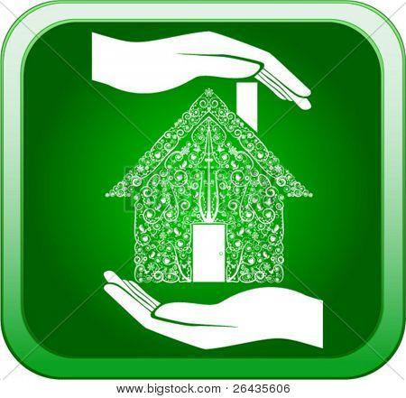 Vector de verde en las manos abiertas