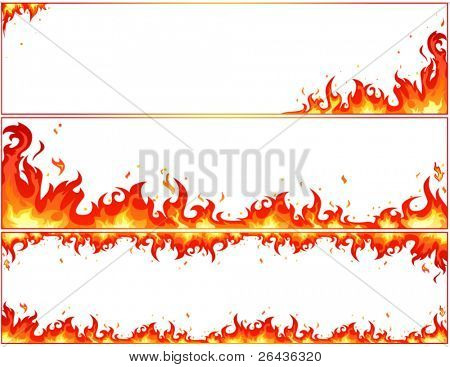 set of fire banners on a white background