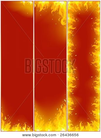 vertical fire flayers on a red background
