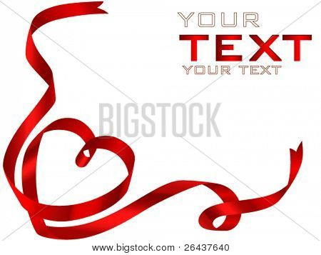 vector of red heart ribbon bow